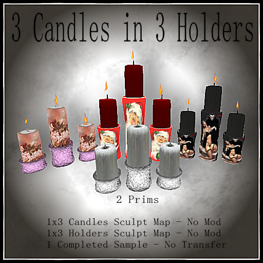 3 Candles in 3 holders Poster