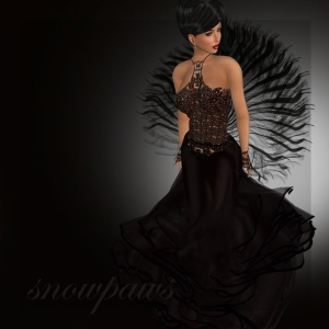 Snowpaws - Sirina Lace and Feather Gown - Sloe