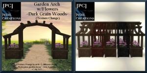 [PC]PIXEL CREATIONS - GARDEN ARCH W_FLOWERS DARK GRAIN WOODS AD