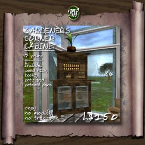 (RVi Design) Gardener's Corner Cabinet - 7 prims (Loaded)
