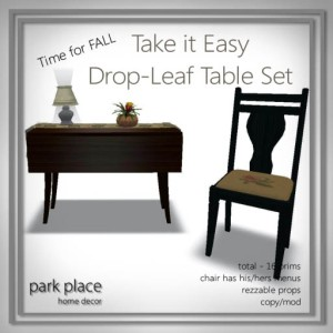 [Park Place] Take It Easy Drop-Leaf Table Set