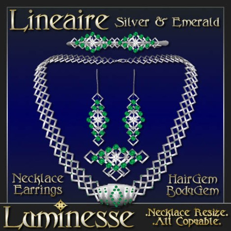 _LUM-LINEAIRE Silver & Emerald Necklace Set