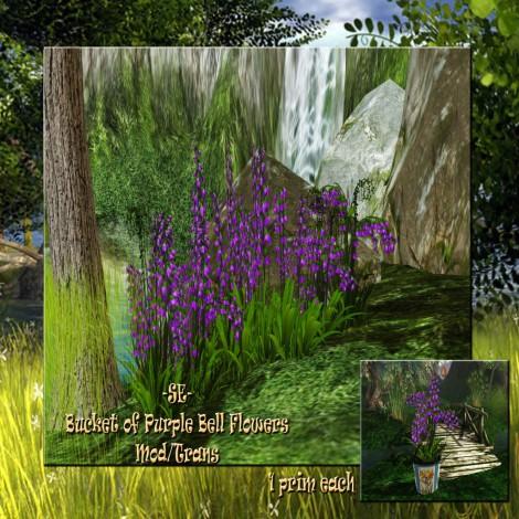 -SE- Bucket of Purple Bell Flowers